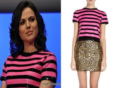 Saint Laurent Sequin-Stripe Sweater in Pink and Black as seen on Lana Parrilla at Fairy Tales 2 Con 2014 ($919)