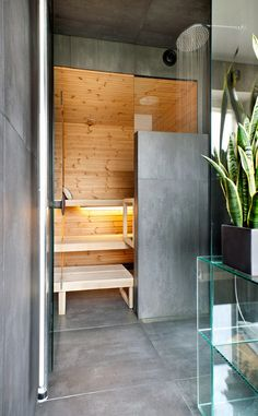 love the contrast of the cold concrete with the warm wood Sauna Shower, Sauna Design, Sweet Home, Cabin, Warm, Bathroom, Interior, House, Furniture