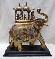 Brass Royal Elephant & Howdah with Intricate Colorful Leaf Designs- ANTIQUE