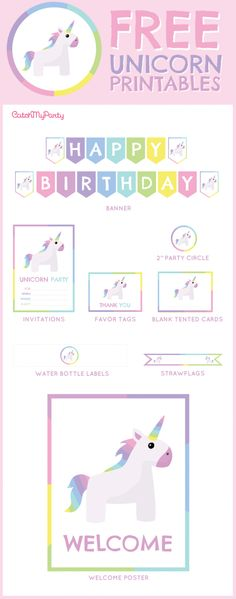 Free Unicorn birthday party Printables for young girls | CatchMyParty.com