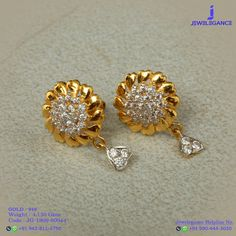 Gold 916 Premium Design Get in touch with us on Jewelry Design Earrings, Gold Earrings Designs, Gold Jewellery Design, Small Earrings, Necklace Designs, Real Gold Jewelry, Jewelry Model, Bridal Earrings, Wedding Jewelry