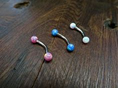 Pink Blue Or White Synthetic Fire Opal Rook Eyebrow Piercing