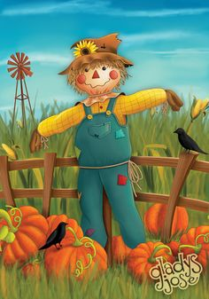 Fall/Autumn - The Lonely Scarecrow Scarecrow Drawing, Scarecrow Painting, Scarecrow Crafts, Fall Scarecrows, Halloween Painting, Primitive Scarecrows, Scarecrow Pictures, Halloween Pictures, Fall Pictures