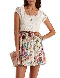 Belted Floral & Crochet Skater Dress: Charlotte Russe