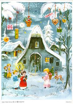 Illustrated by Anita Rahlwes, 1st Christmas, Vintage Christmas, Christmas Cards, Advent Calendars, Winter Solstice, 1960s, Holiday Ideas, Illustration, Painting
