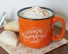 It's heavy, awesome speckled stoneware, outfitted with the cutest little fall phrase. Whether you're taking your coffee black and cozied by a campfire or with pumpkin spice at the kitchen table, you're gonna love this mug! Cute Coffee Mugs, I Love Coffee, Coffee Cups, Pause Café, Cute Cups, Pumpkin Spice, Cookies Et Biscuits, Hot Chocolate, Just In Case