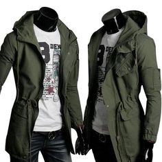 High Quality Cotton Trench Coat Men Fashion Slim Men's Jackets Outerwear Casual Windbreaker Mens Trench Coat Overcoat Casacos - On Trends Avenue Military Fashion, Mens Fashion, Military Style, Military Clothing, Trendy Fashion, Slim Fit Hoodie, Mode Sombre, Outerwear Jackets, Men's Jackets