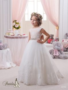 Wedding Flower Girl Dresses 2016 Kids Wedding Dresses With Cap Sleeves Jewel Neck Appliques Tulle Ball Gown Flower Girls Dresses For Weddings With Beading Bow Sash White Communion Shoes From Nicedressonline, $92.57| Dhgate.Com