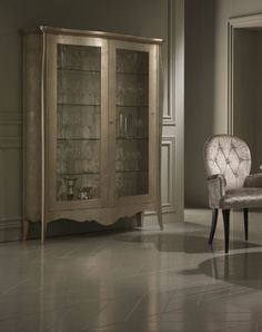 The Diva Collection Luxury Glazed Display Cabinet, shown here in our champagne leaf finish. Bespoke sizes available with the option to order in any RAL classic high gloss or matt colour, various leathers and gold or silver leaf options. Prices vary.