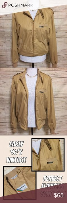 Vintage Members Only Bomber Jacket True vintage Members Only bomber jacket from the early 90's. This jacket is in flawless condition despite its age. Full front zip, pocket at each hip and one on the chest with classic Members Only logo on chest pocket. Elasticized sleeves and bottom hem. Size 40, fits me perfectly and I'm a women's medium. Classic tan color with the same color lining. ***Price is pretty close to firm on this one as I'm in love with it and will only sell if the price is…