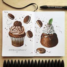 Десерты для экстрим-скетчинга 2 | Школа рисования для взрослых Вероники Калачёвой — Kalachevaschool | Обучение вживую в Москве и онлайн по всему миру