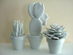 set of 3 modern white porcelain cactus