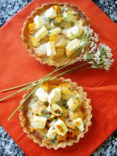 Butternut and feta tartlets with garlic chives - Ottolenghi recipe