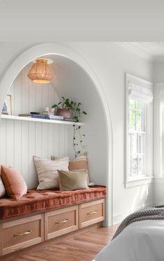 New Living Room, Home And Living, White Oak Kitchen, Style Cottage, Oak Hardwood Flooring, Living Room Flooring, Home Bedroom, Bedrooms, White Walls