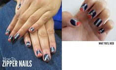 Zipper Nails Tutorial-I don't think I'd do this on myself, but wanted to save.  Cool idea and great directions.