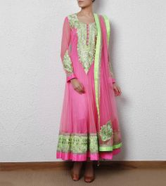 Candy Pink Net Anarkali with Aari Embroidery
