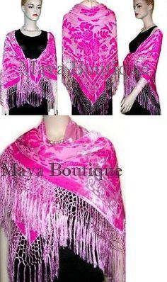 Wraps and Jackets 105472: Piano Shawl Wrap Scarf Frige Silk Burnout Velvet Candy Pink Maya Matazaro -> BUY IT NOW ONLY: $149.99 on eBay!