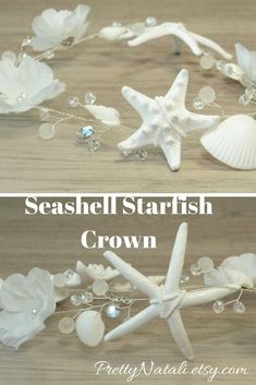 Lovely Beach Wedding Headpiece with real starfishes, white artificial flowers, sea shells, seed beads, beads and crystals. Great idea for beach wedding, destination wedding, beach party, music festival, for Mother of Bride, mermaid costume. #shellcrown #beachwedding #beachbride #mermaidhair