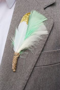 Mint and Gold Feather Buttonhole / Feather by PointlessPrettyEtsy