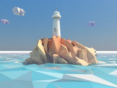 Lighthouse in low poly world by Andrus Valulis
