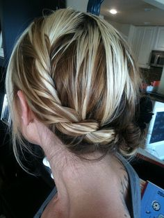 Side Twist Low Updo w/ highlights and lowlights