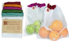 """$20 Eco Friendly See Through Washable and Reusable Produce Bags - Soft Premium Lightweight Nylon Mesh Large - 12"""" X 14"""" - Set of 5 (Red, Yellow, Green, Blue, Purple) 