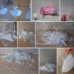 Een ballerina van ijzerdraad en servetten.