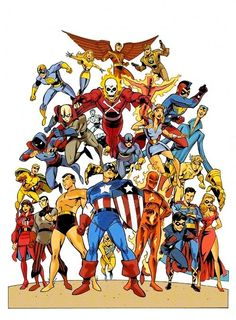 Timely Comics characters by Anthony Castrillo. Golden age marvel characters. So here's who I can Name: Captain America, Human Torch, Sub-Mariner, Blazing Skull, Miss America, Destroyer, Whizzer, Bucky, Angel, Blonde Phantom, Red Raven, Patriot, Thin Man, Blue Diamond, Citizen V, Toro, Jack Frost.