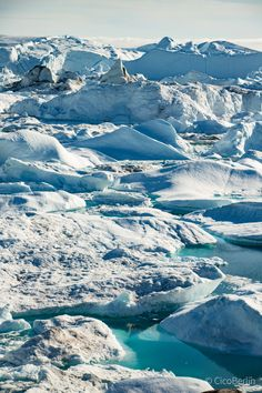 All shades of turquoise - this is the beauty of icefjord in Ilulissat. It all comes from the Glacier Sermeq Kujalleq. Which is one of the fastest (19 m per day) and most active glaciers in the world. It annually calves over 35 km3 of ice, i.e. 10% of the production of all Greenland calf ice and more than any other glacier outside Antarctica.