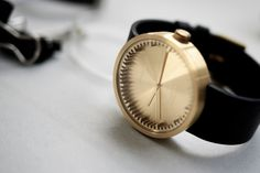 Tube Watch in Brass w/ Black Leather Strap design by Leff Amsterdam