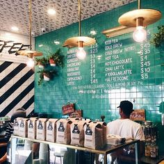 Love this image for inspiration! The teal, gold, and patterned black and white look fantastic together! {Alfred Coffee | Brentwood, CA}: