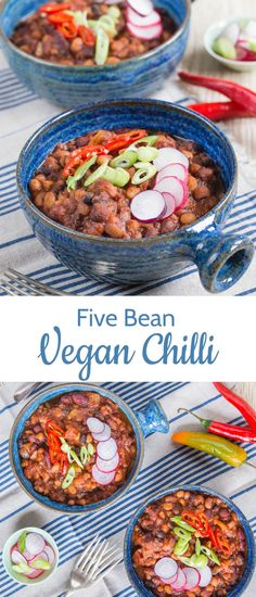 This healthy 5 bean chilli is also vegan! Make this vegan 5 bean chilli for dinner and enjoy the leftovers all week long! Chilli Recipes, Vegetarian Recipes, Healthy Recipes, Vegetarian Soup, Delicious Recipes, Soup Recipes, Healthy Food, Yummy Food, Bean Chilli