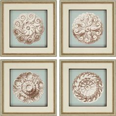 Paragon Rosettes Giclee 4 Piece Framed Painting Print Set
