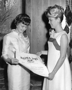 There are so many amazing installation photos in the Archives at the Executive Office - we just have to share this one! Pictured here are Mary Lynn Winfrey and Chapter President Marty Kelley at Epsilon Gamma (Sacramento State Alpha Phi)'s installation in 1968. #FBF