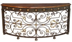 Wrought Iron Console Table British Castle Knight Walnut Top Brass New Ships Free #Empire #rt