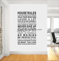 Free shipping POPULAR! NEW! 120cm*60cm Art Words Motto Poem HOUSE RULES Vinyl Wall Sticker Decor Mural Decal with Transfer film-in Wall Stickers from Home & Garden on Aliexpress.com
