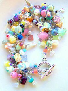 beaded fringe charm bracelet pastel paradise wire by UniqueNecks