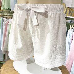 Seersucker Lounge Shorts - White