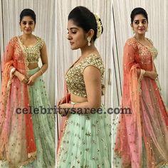 Beautiful Nivetha Thomas in Mrinalini Rao For a mall opening. Indian Wedding Gowns, Indian Dresses, Indian Outfits, Half Saree Lehenga, Lehnga Dress, Gold Lehenga, Lehenga Blouse, Anarkali, Sarees