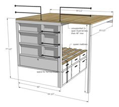 Ana White   Build a Tiny House Loft with Bedroom, Guest Bed, Storage and Shelving   Free and Easy DIY Project and Furniture Plans