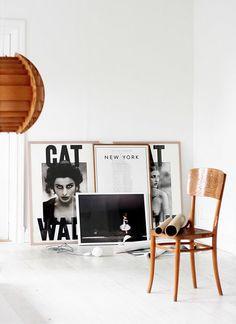 black and white prints. shiney wood.