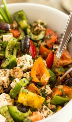 foodie greek style bell pepper salad greek style bell pepper salad ...