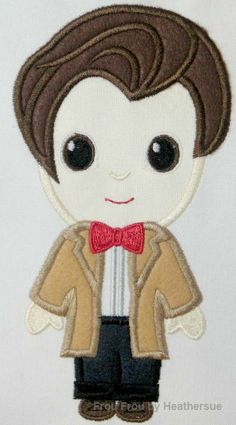 Eleventh Doctor Cutie Who Machine Applique Embroidery Design Multiple Sizes, including 4 inch
