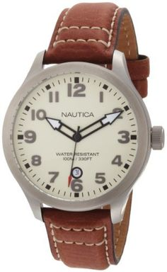 Nautica Men's N09560G BFD 101 Date Cream Dial Watch NAUTICA. $62.00. Water-resistant to 330 feet (100 M). Brown pebble grain leather strap with cream dial. 3 hand date movement. Luminous hands. Stainless steel case. Save 35% Off!