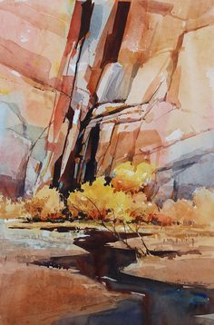 Carl Purcell, watercolor, Zion Canyon (zig zag stream)