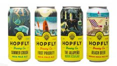 Hopfly Brew Takes Inspiration From Southern Adventure - Darrell Pideon Food Packaging Design, Bottle Packaging, Packaging Design Inspiration, Coffee Packaging, Beer Can Art, Craft Beer Labels, Wine Labels, Brewery Design, Beer Label Design