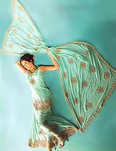 BW572 Turquoise Green Sharara Pakistani Designer Sharara, Indian Wedding Dress Bridal Wear