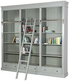 PORTOBELLO ANTIQUE GREY LIBRARY BOOKCASE - LUXURY HOME FURNITURE Portobello Antique Grey Library Bookcase made from Mahogany with an authentic aged slightly distressed finish with ladder from our onli