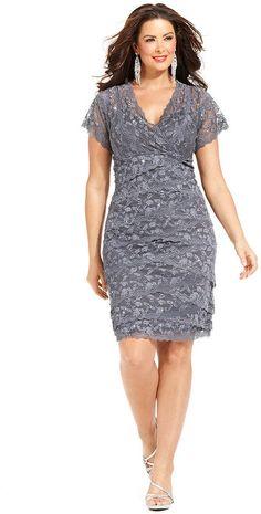 Marina Plus Size Dress, Cap Sleeve Lace Cocktail Dress
