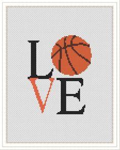 Cross Stitch Love, Modern Cross Stitch, Cross Stitch Designs, Cross Stitch Patterns, Cross Stitching, Cross Stitch Embroidery, Embroidery Patterns, Basketball Gifts, Love And Basketball